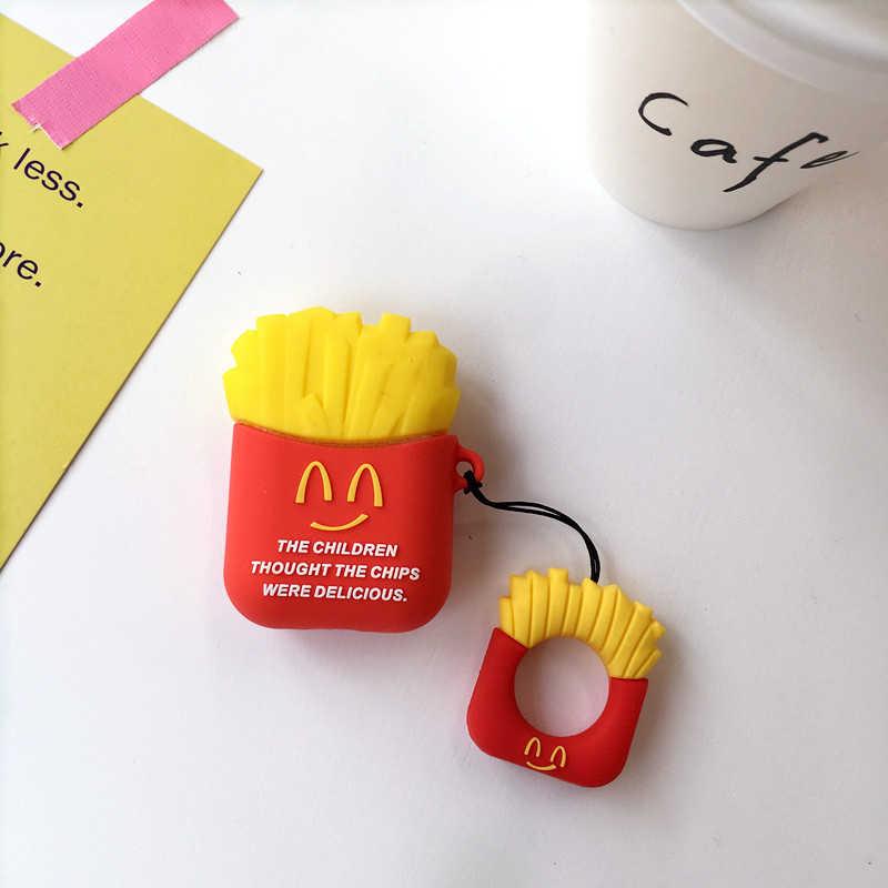 Для Airpods силиконовый защитный чехол для AirPods гамбургер попкорн Bluetooth наушники зарядное устройство коробка крышка Анти-потеря ремешок подарок