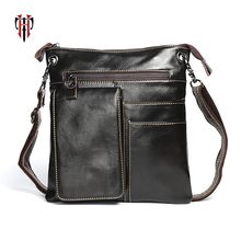 TIANHOO messenger bag young men shoulder crossbody & cow leather casual fashionable bags for travel  PAD/cell phone pocket недорого