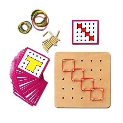 Free Ship 1 Set Children Wooden Montessori Shape Match & Building Toys Early Fine Motor Skills Development Sensorial Education