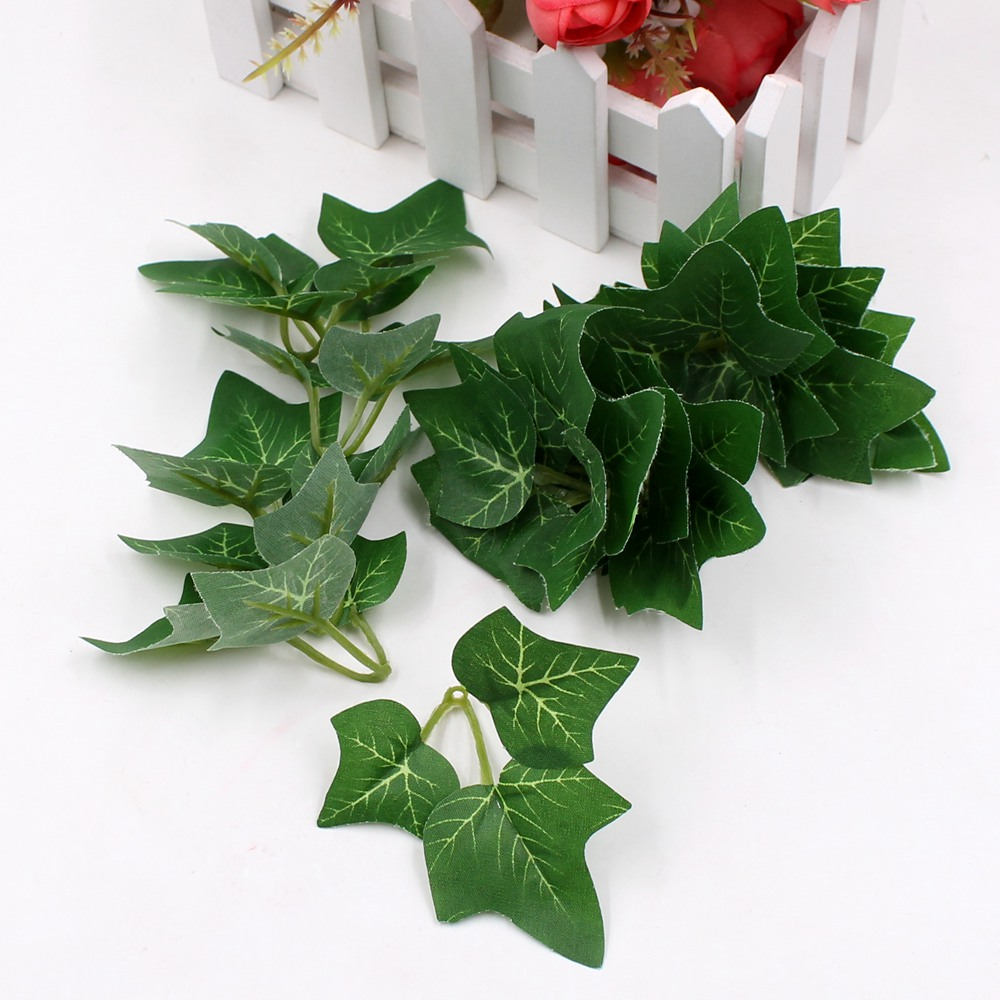 5pcs/lot 3Leaves/pcs green artificial cloth leaves flower wedding home decoration leaves DIY scrapbook craft flowers