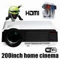2017 Lleno Más Nuevo HD Android4.4 Wifi Inteligente Multimedia video Proyector 5500 lúmenes LED Proyector 3D Full hd para cine en casa