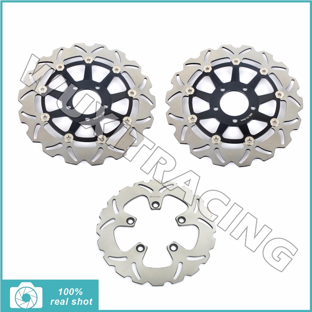 3pcs New Motor 300mm+240mm Full Set Front Rear Brake Discs Rotors for SUZUKI GSX 750 GSX750 1997-2003 1998 1999 2000 2001 2002 black gold motorcycle new front rear full set brake discs rotors for yamaha yzf r1 2002 2003 yzf r6 1999 2000 2001 2002 99 02