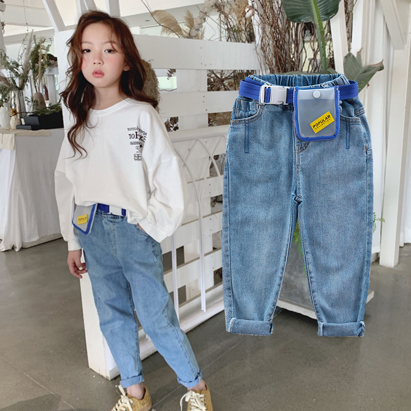 4 13 years old girls Jeans spring Fashion children's trousers washed Classic blue all match pants Cotton to send waist bag belt-in Jeans from Mother & Kids