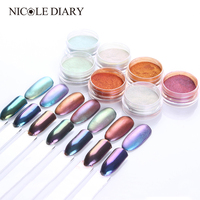 7 Boxes Set Mirror Powder Matte Mirror Effect Chrome Pigment Manicure Nail Art Glitter Powder