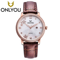 ONLYOU Women Fashion Dress Watch Young Ladies Leather Quartz Watches Casual Vintage Sports Wristwatches New 2017 Hours Wholesale