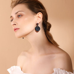 Viennois Gun/Rose Gold Color Dangle Earrings For women With Crystals Paved Round Vintage Earrings Jewelry