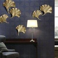 Coffee shop Restaurant Living Room Wall Decorations 3D Bedroom Resign Ginkgo Leaf DIY Decorative Sticker Wall Hanging R630