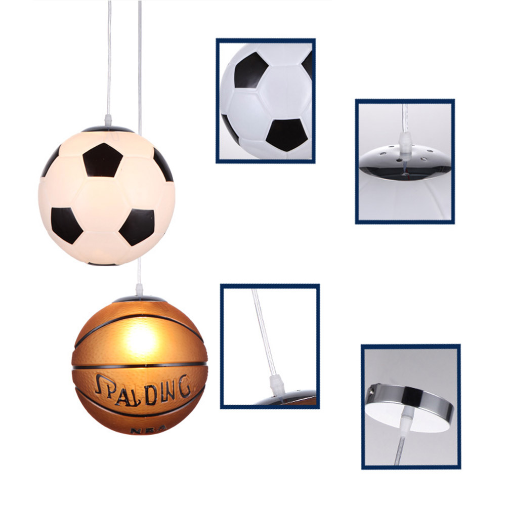 Image 5 - Cartoon Soccer Basketball Pendant Lamp for Children Bedroom Room Decorative Corridor Aisle Home Lighting hanging lamp Fixtures-in Pendant Lights from Lights & Lighting
