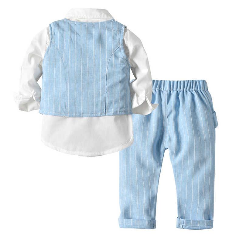 男の子スーツブレザー服スーツウェディングフォーマルパーティーストライプベビーベスト子供ボーイアウターウェアセット