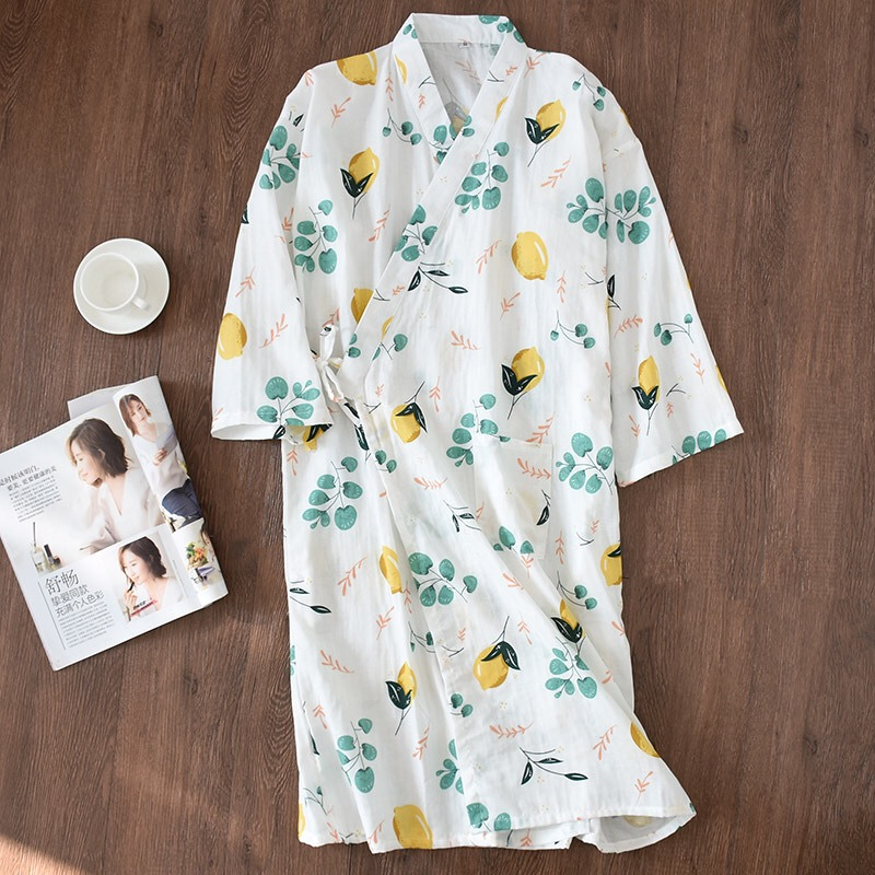 New Design Fresh Kimono Robes Women Summer Bathrobes 100% Gauze Cotton Thin Casual Floral Women Nightgowns Japanese Bath Robes
