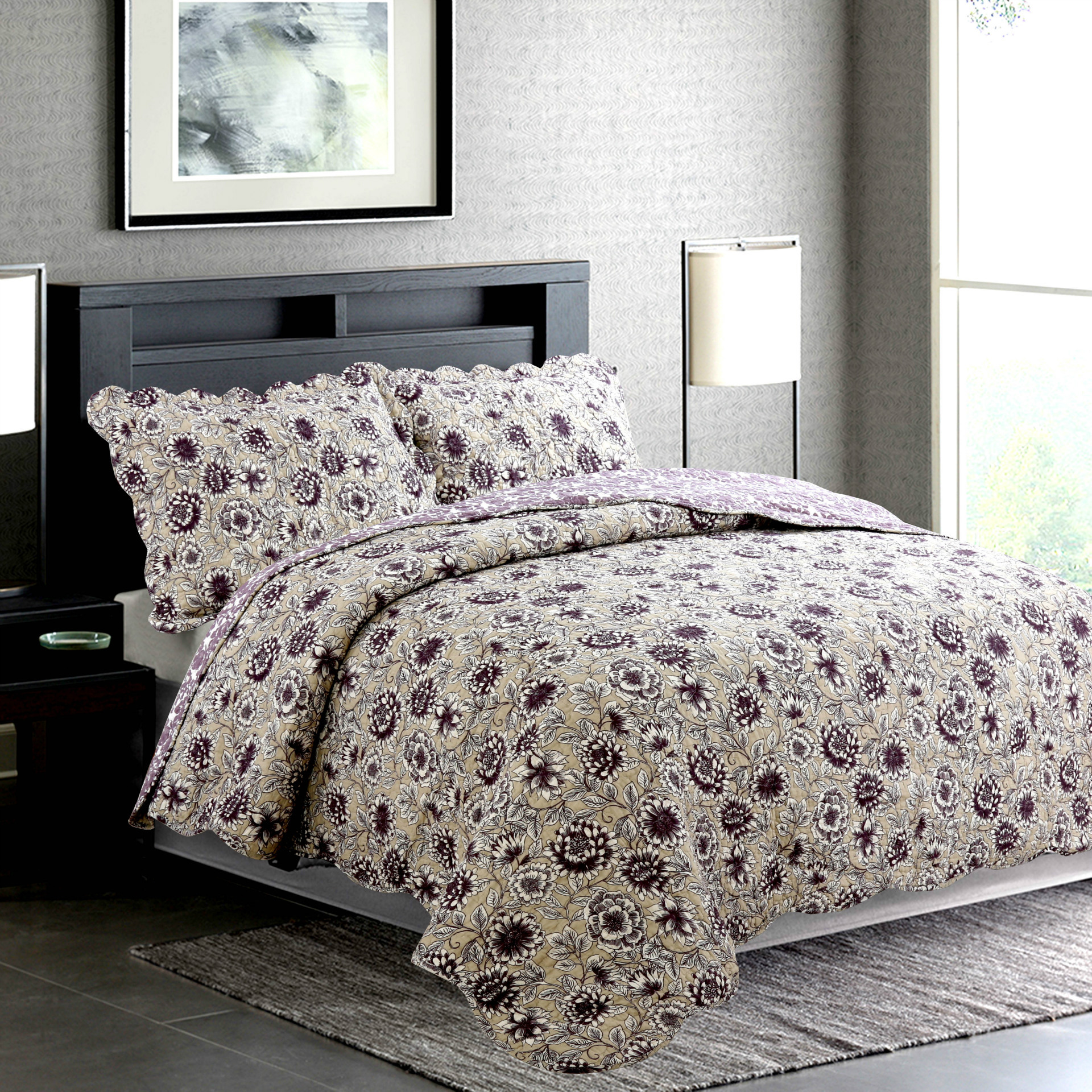 Blossom Floral Reversible 100/%Cotton Quilt Set Bedspreads Coverlet