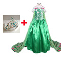2017 Зеленый Лихорадка Эльза платье девушки одеваются дети костюм платье партии платье принцессы косплей длинный плащ фантазия infantil fiesta