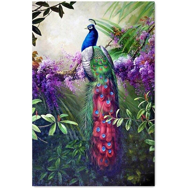 DIY pinturas de diamantes Peacock flor decoración pintura rhinestone ...