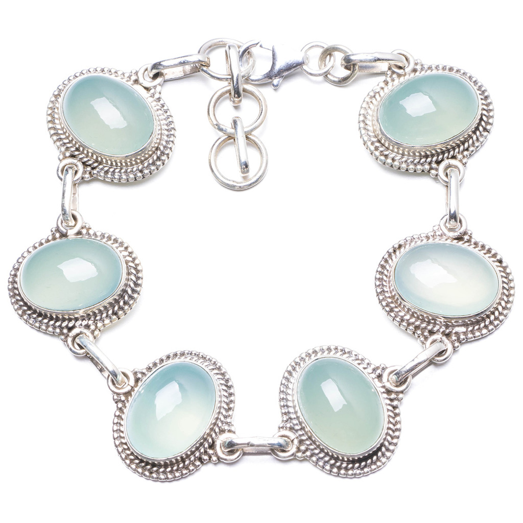 Natural Chalcedony Handmade Unique 925 Sterling Silver Bracelet 7 1/4-8 1/4 Y1966 цена