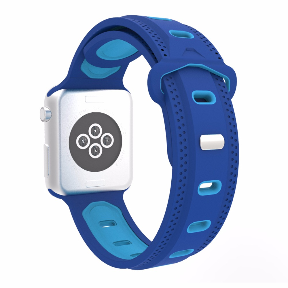 Double Color Silicone Band for Apple Watch iwatch 38/42mm Series 1 2 3 Mixed Color Straps Wristwatch Belt Replacement I287. eache silicone watch band strap replacement watch band can fit for swatch 17mm 19mm men women