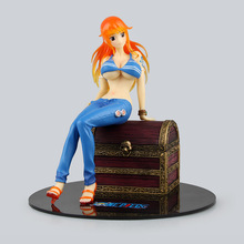 Anime One Piece P.O.P Nami on the Treasure Box PVC Action Figure Collectible Model Toy 19cm