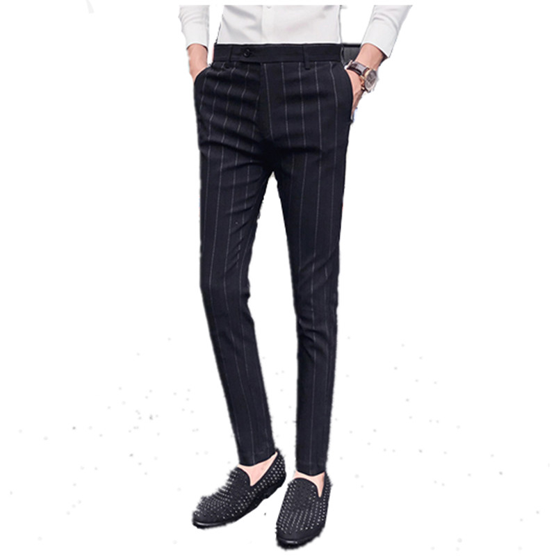 2019 Brand Fashion New Quality Cotton Men Pants Suit Pants Spring Summer Long Male Classic Business Stripe Casual Men's Trousers