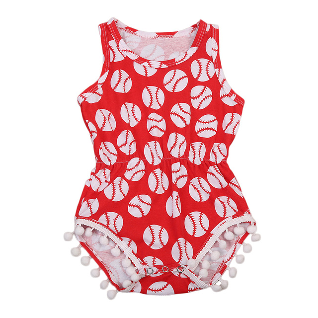 2978cea6fc6 Pudcoco summer Infant Kids Baby Girls Toddler Cotton Jumpsuit Sleeveless football  Romper Babygrow Outfits red for 0-18M