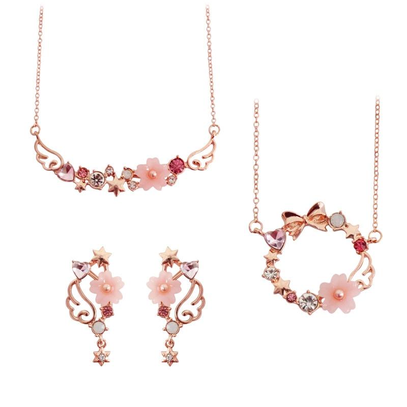 Pink Card Captor Sakura Pendant Necklace Metal Link Chain White Purple Rhinestone Bow Sailor Moon Star Necklace For Women Girls