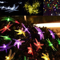 600CM 20LED Solar Powered Dragonfly LED Light String Christmas Tree Path Porch Lawn Outdoor Garden House