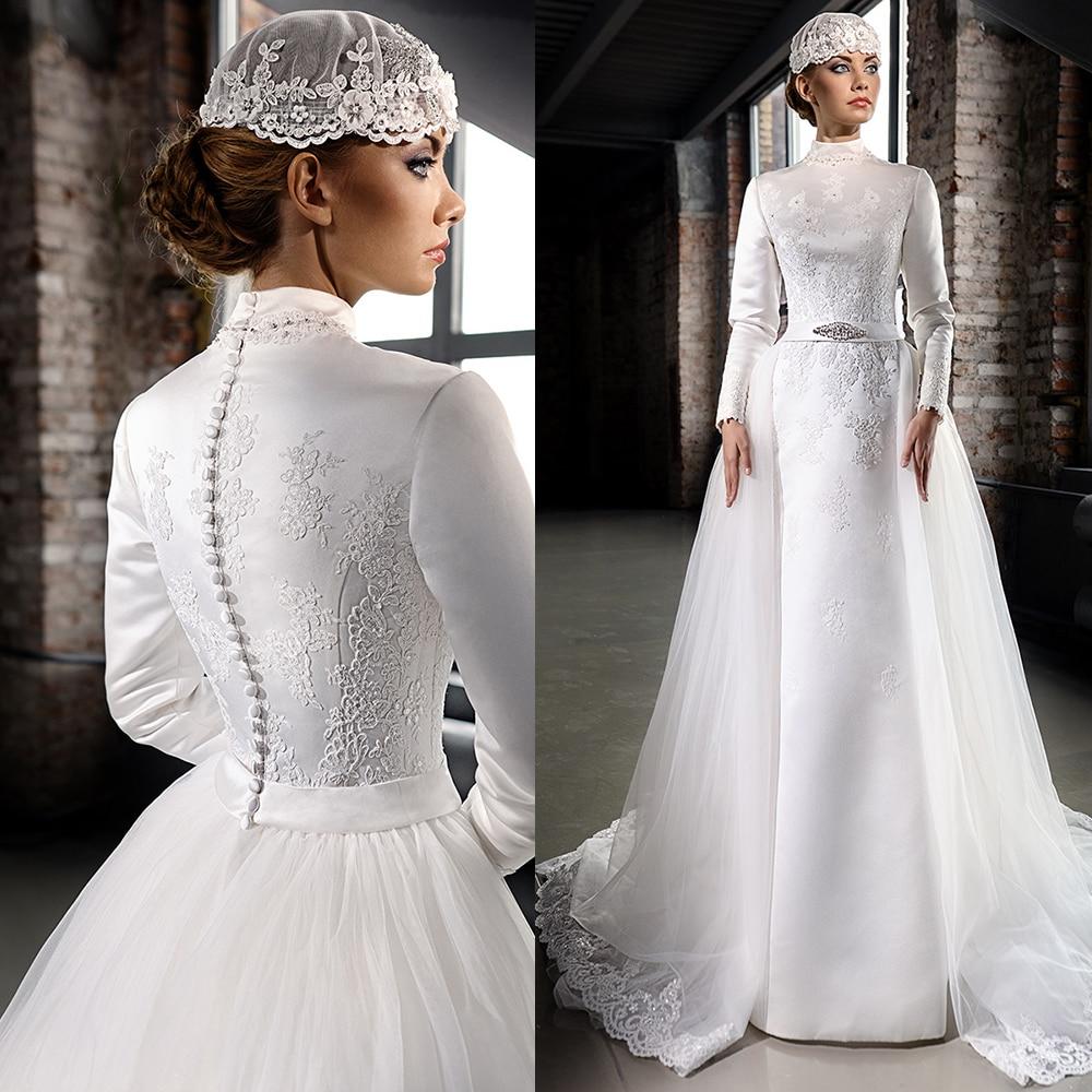 Popular High Neck Long Sleeve Wedding Dress-Buy Cheap High
