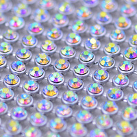 JUNAO 45*120cm Hotfix Crystal Mesh AB Rhinestones Metal Trim Glass Strass Fabric Silver Aluminum Mesh Crystals Band for Crafts