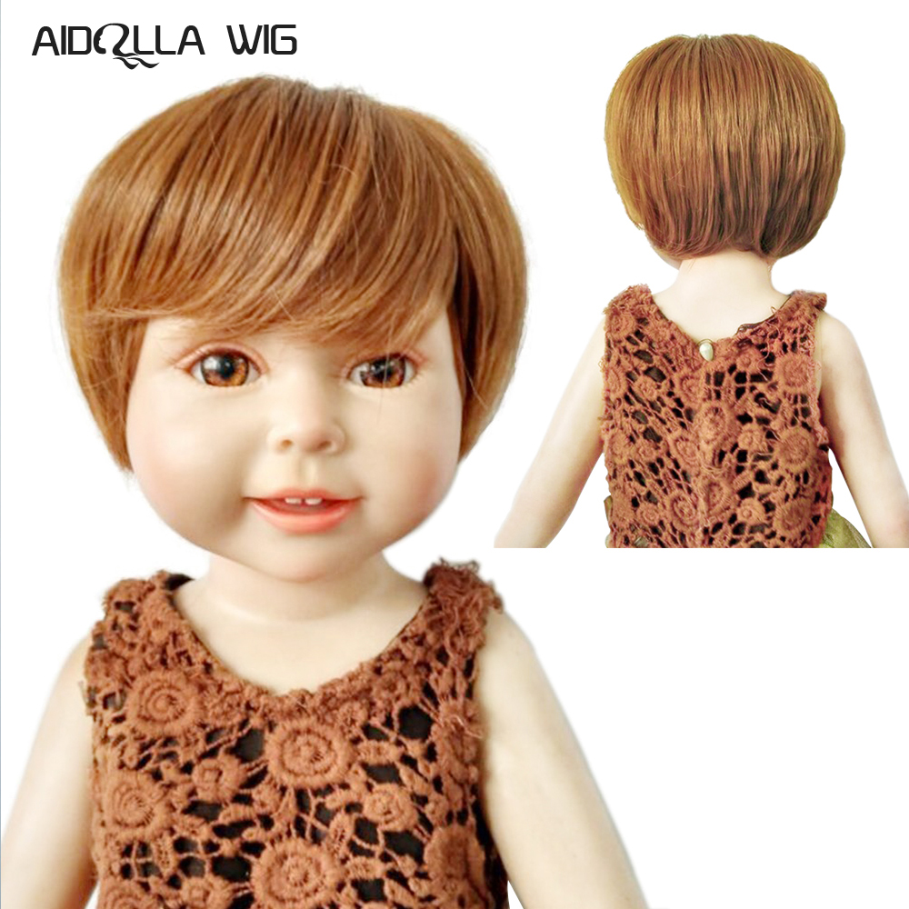 Hot Sale Fashion American Doll <font><b>Wig</b></font> Blonde <font><b>Brown</b></font> Short <font><b>BJD</b></font> Doll <font><b>Wigs</b></font> Size 18 Inch Short Cut Doll <font><b>Wigs</b></font> High-temperature Wire Hair image