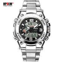 Sport hommes montres bracelet LED numérique Quartz horloge argent mode étanche montre Top luxe marque chronographe hommes montres