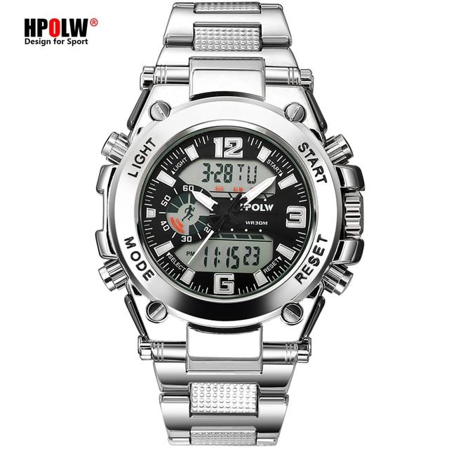 الرياضة الرجال ساعات المعصم LED الرقمية كوارتز ساعة فضية موضة مقاوم للماء ساعة قمة العلامة التجارية الفاخرة كرونوغراف الذكور الساعات