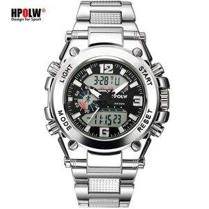 Image 1 - Relógios de pulso dos homens dos esportes led digital relógio de quartzo prata moda à prova dwaterproof água relógio topo marca de luxo cronógrafo masculino relógios