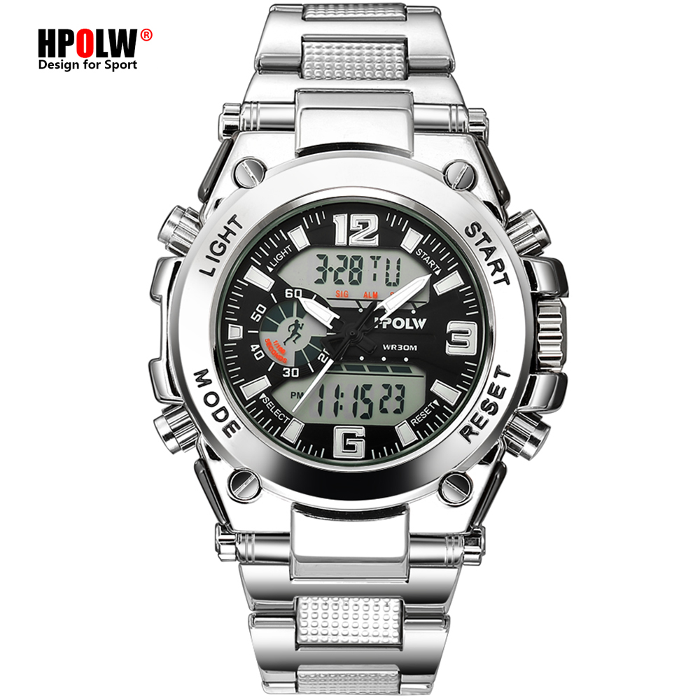 Saatler'ten Kuvars Saatler'de Spor erkek bilek saatler LED dijital kuvars saat gümüş moda su geçirmez izle en lüks marka Chronograph erkek saatler title=