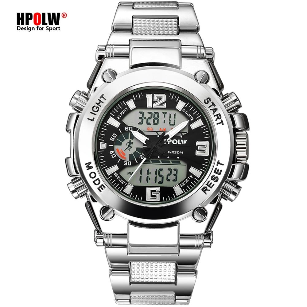 Sports Men's Wrist Watches LED Digital Quartz Clock Silver Fashion Waterproof Watch Top Luxury Brand Chronograph Male Watches