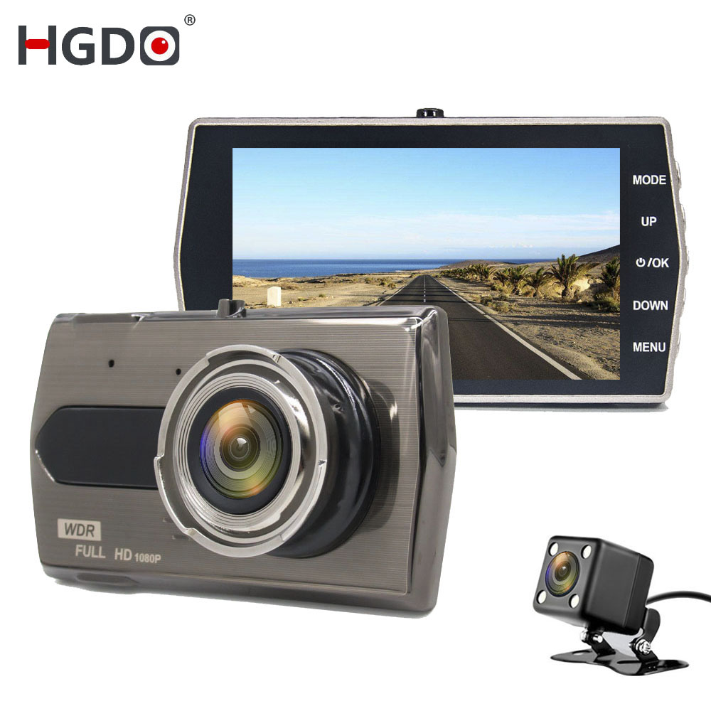 HGDO Car-Dvr Recording Dashcam Night-Vision 4inch Dual-Lens Video-Registratori Auto FHD