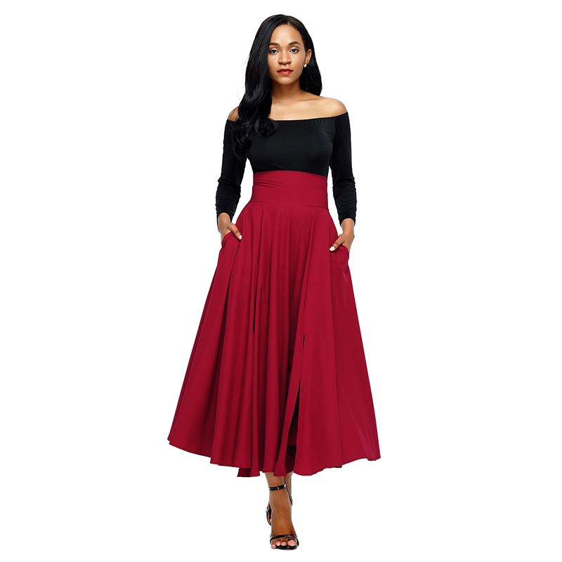 Red-Retro-High-Waist-Pleated-Belted-Maxi-Skirt-LC65053-3-1