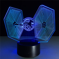 3d Illusion Lamp Star Wars TIE Fighter Novelty Night Light Beside Lamp with 7 Color Change Desk lamp,Smart Touch Base,Cool Gift