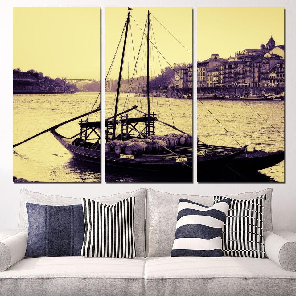 3 Panels Canvas Art Portugal City River Boat Home Decor Wall Art ...