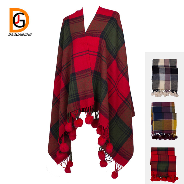 fafd13bd8adb6 2017 New Plaid Shawl with Rabbit Fur Ball Wrap Soft Solid Red Color/gray/orange  Women Scarf Pashmina Free Shipping Tassels