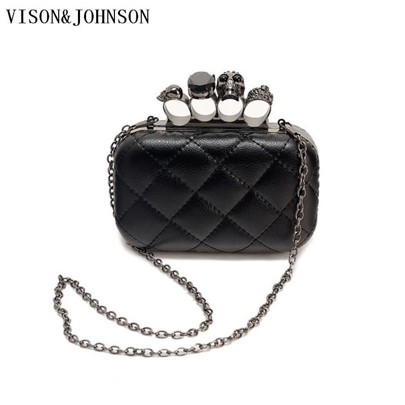 Skull Ring Womens Purses and Bags VISON&JOHNSON Hipster Punk Personalized Chain Wallet Evening Clutch bag Pochette sac femme цены