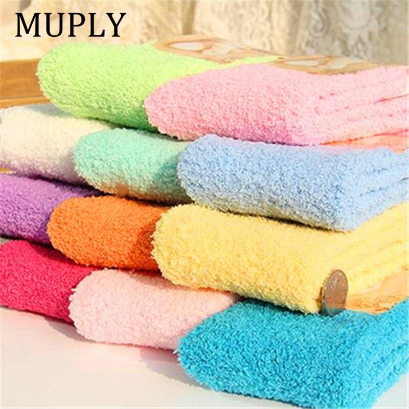 Милые носки, женские носки-кровати, одноцветные пушистые теплые зимние детские носки, подарок, мягкие домашние аксессуары, забавные носки, п...