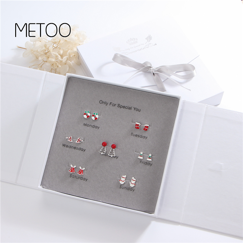 METOO 7 Pairs/set 925 Sterling Silver Earrings for Women One Week Sets Branch Sheep Four Leaf Clover Pearl Earring Star