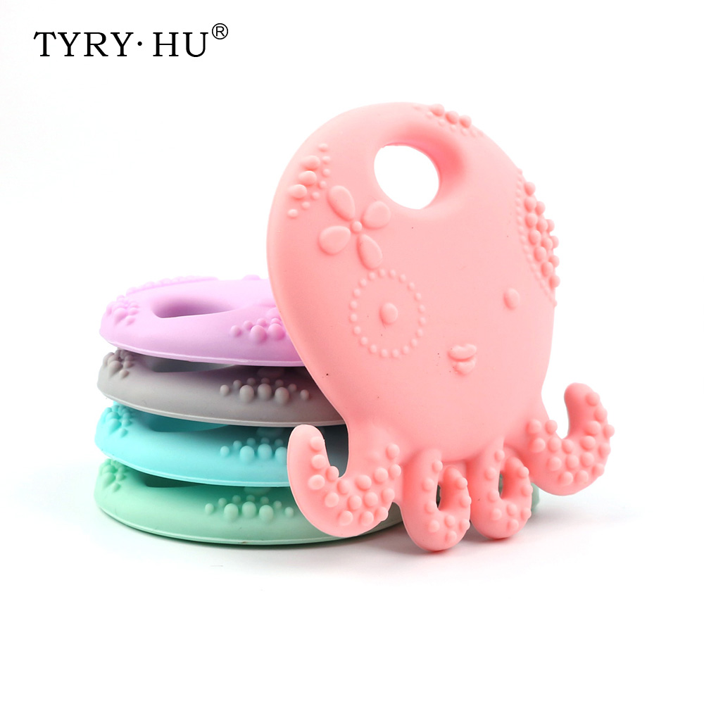 TYRY.HU 1Pc Octopus-Shaped Silicone Teether Soft Texture Baby Teething Toys DIY Nursing Accessories Food Grade Silicone