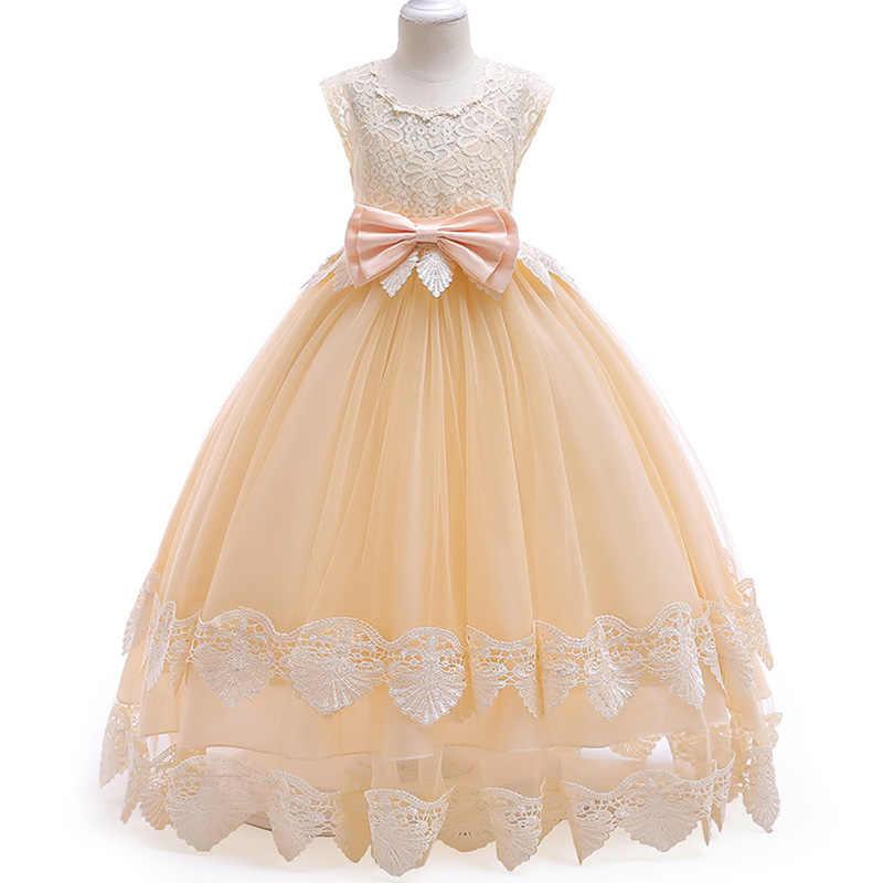 c2cb58232ae ... Детское Элегантное свадебное платье подружки невесты с цветочным узором  для девочек