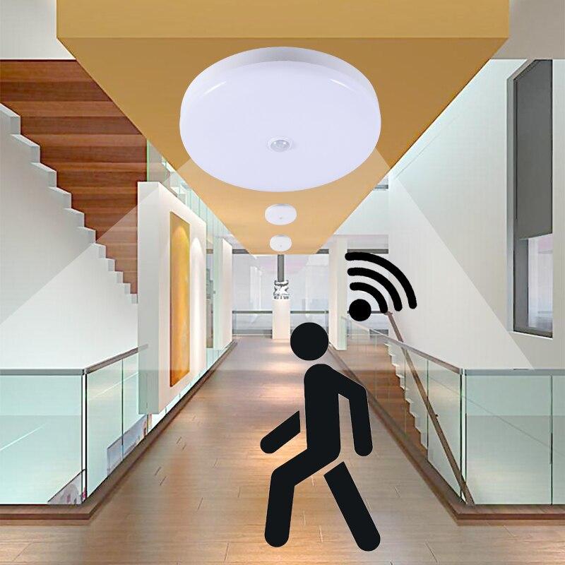 Lampe de nuit avec capteur de mouvement ampoule LED nuit lampara PIR capteur intelligent 5 W 12 W 18 W 220 V plafonnier chambre allée