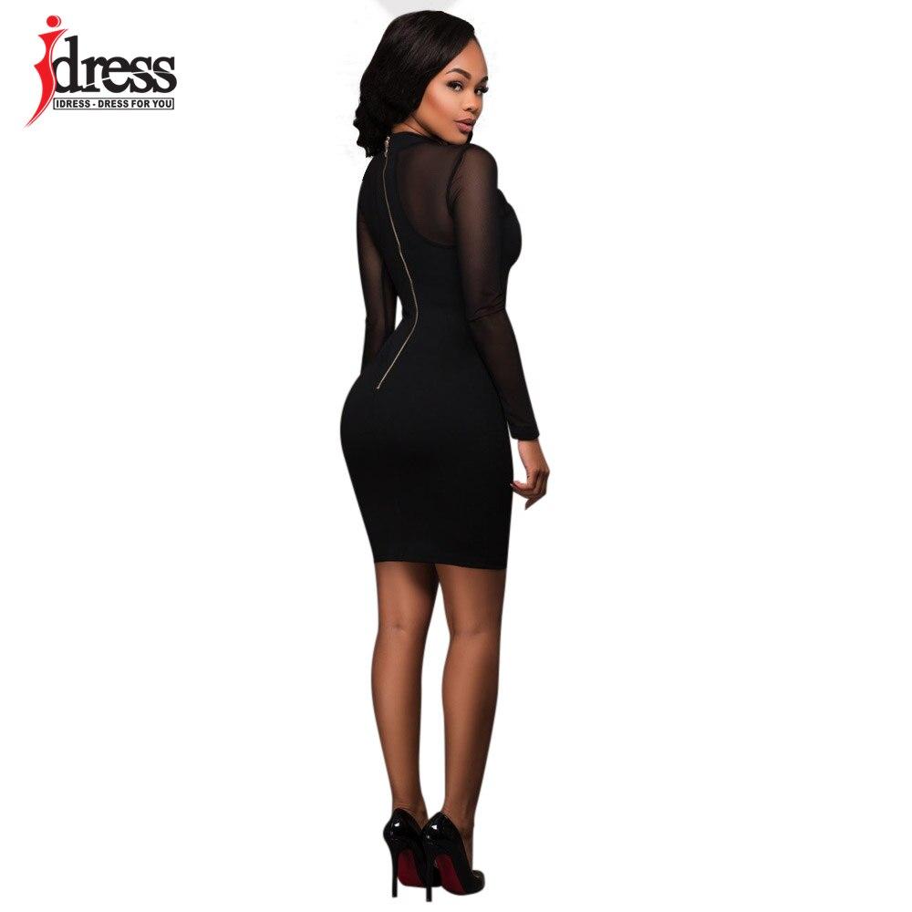 IDress Vestido Bandage Black  Khaki Sexy Sheer Mesh Patchwork Long Sleeve  Pencil Dress Robe Femme Ete 2017 Women Bodycon Dress-in Dresses from Women s  ... 9a9903ad0bd1