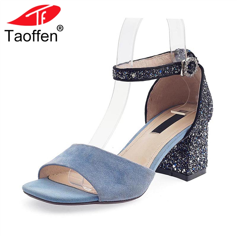 где купить TAOFFEN Women High Heel Sandals Genuine Leather Ankle Strap Bling Thick Heel Women Summer Shoes Dress Footwear Size 34-39 по лучшей цене
