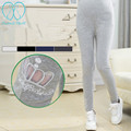 806# Hollow Out CROWN Embroidery Maternity Legging 2017 Spring THIN Cotton Elastic Waist Pencil belly Clothes for Pregnant Women