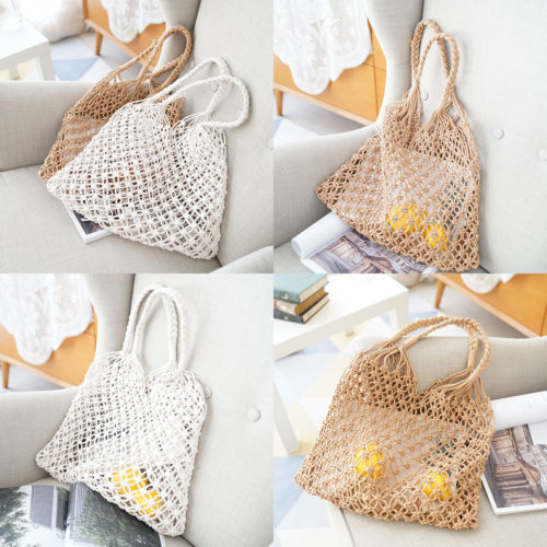 e506fb00a570 Women Straw Crochet Bags Beach Woven Shoulder Handbag Purse Summer Boho Bags  Hangable Tote Clutch Travel Organizer Case Pouch