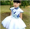 Nueva llegada del verano moda porcelana azul y blanca muchachas del diseño sin mangas vestido para los niños del desgaste del bebé de la princesa del vestido del cheongsam