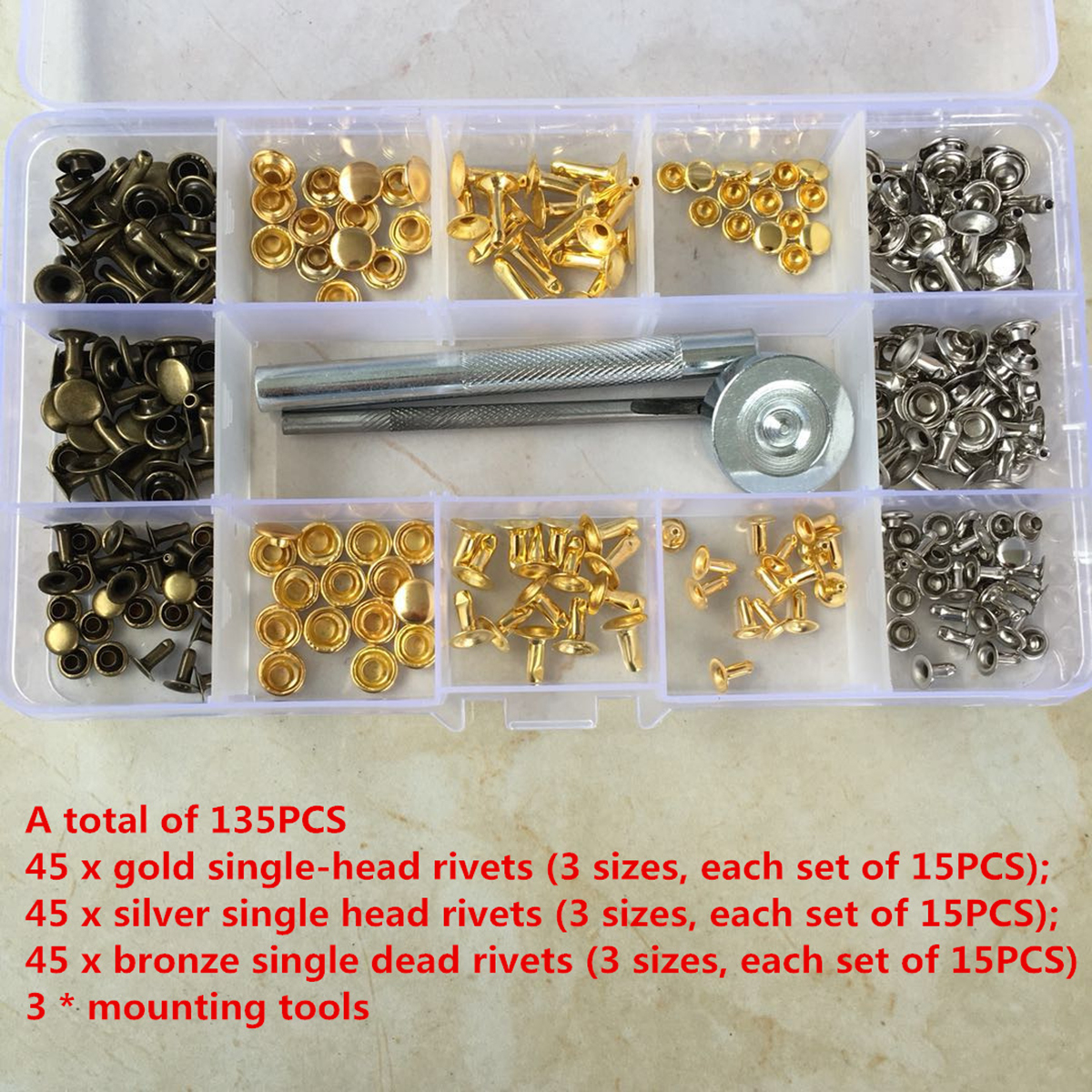 DIY Leather Craft Tools 135Pcs/Set Snap Fasteners Snaps Buttons Fixing Hat Rivet Tools Kit Supplies Accessories Metal Gadgets