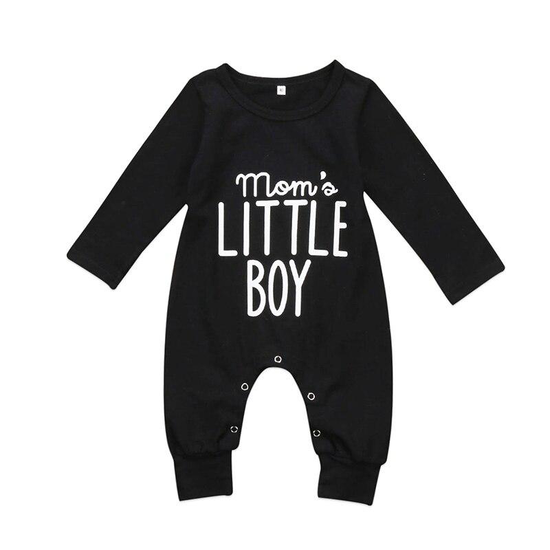 Mom's Little Boy Newborn Infant Baby Boy Long Sleeve Letter Print Cotton Romper Jumpsuit Playsuit Outfits Clothes 0-24M